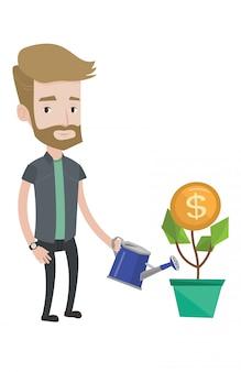 Hombre regando flores de dinero.