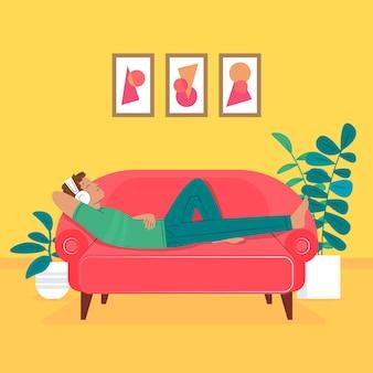 Un hombre relajante en casa