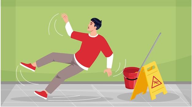 El hombre se resbaló en el piso húmedo semi ilustración