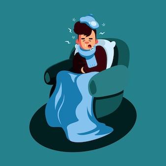 Hombre con resfriado en cuarentena en casa