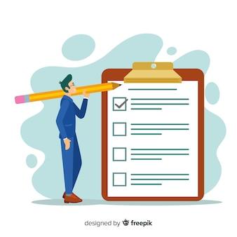 Hombre revisando una lista de tareas gigante