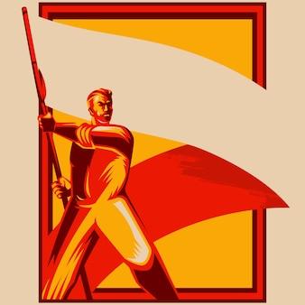 Hombre de la revolución que sostiene la ilustración de vector de bandera en blanco