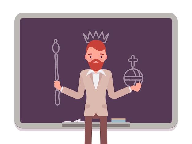 Hombre con rey dibujado