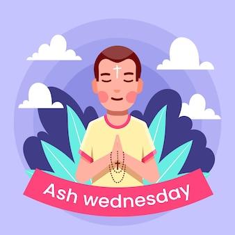 Hombre rezando en la ilustración del miércoles de ceniza
