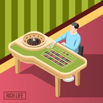 Hombre rico en fondo isométrico de casino