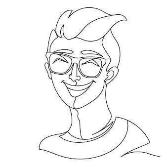 Hombre riendo en anteojos retrato una línea de arte. expresión facial masculina feliz. silueta de hombre lineal dibujado a mano.