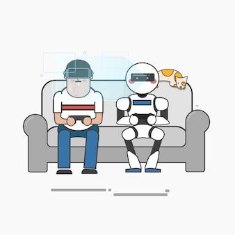 Hombre y robot jugando videojuegos