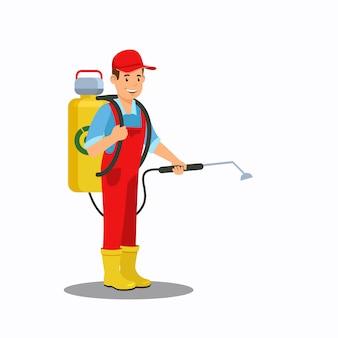 Hombre rociando fertilizante color vector illustration