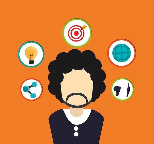 Hombre rodeado de imagen de los iconos relacionados con la comunicación surtidos