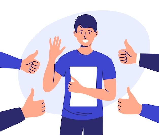 Un hombre rodeado de manos con pulgares arriba y aplausos.