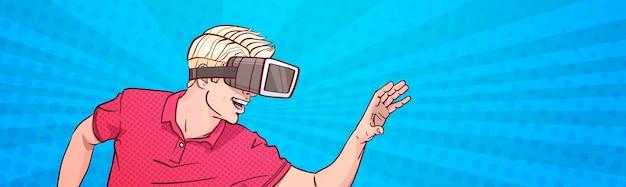 Hombre ropa gafas 3d gafas realidad virtual gesticular arte pop estilo fondo banner horizontal