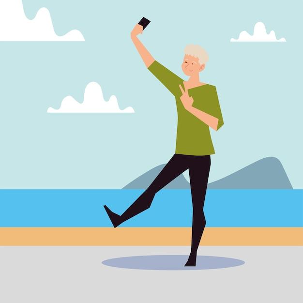 Hombre rubio tomando selfie en la ilustración de la orilla del mar