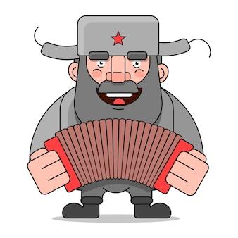 Hombre ruso adecuado para la impresión de tarjetas de felicitación, carteles o camisetas.
