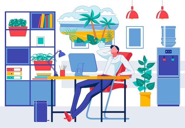 Hombre en la sala de oficina soñando con vacaciones en la playa