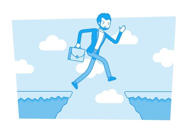 Hombre saltando sobre el abismo