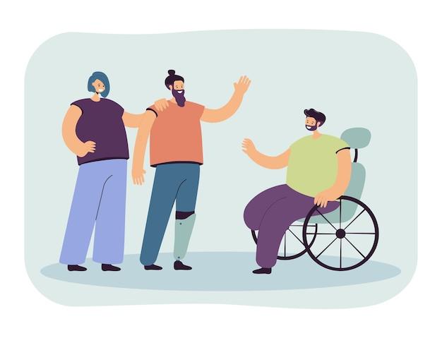 Hombre de saludo de persona discapacitada en silla de ruedas. personaje con pierna artificial, personas discapacitadas ilustración vectorial plana