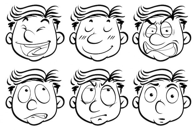 Hombre con seis expresiones faciales diferentes