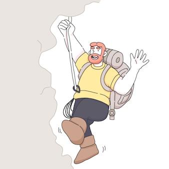 Hombre senderismo montaña agitando mano ilustración