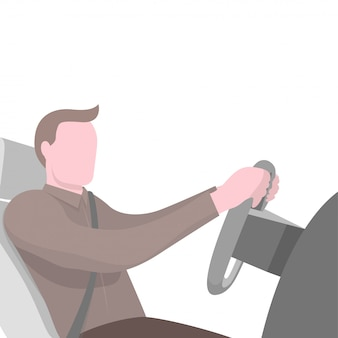 Hombre sentado al volante del coche.