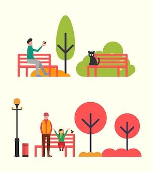 Hombre sentado en el banco y sosteniendo el pájaro en las manos