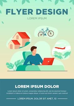 Hombre sentado en la computadora y planificar sus vacaciones. trabajador de oficina pensando en casa de campo, viaje en bicicleta o avión. ilustración de vector de sueño, pensamiento, estilo de vida, concepto de riqueza