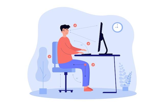 Hombre sentado en el escritorio en la posición correcta