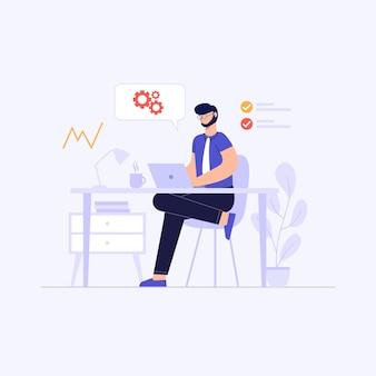 Un hombre está sentado frente a una computadora portátil, trabajando desde casa, analizando la ilustración de diseño conceptual de datos