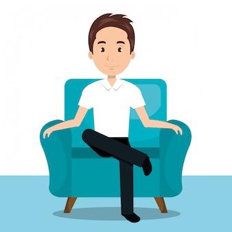Hombre sentado en el icono de sofá