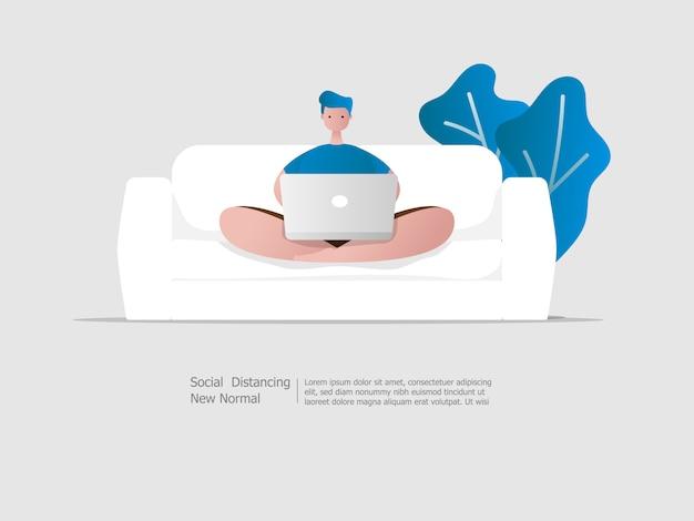 Hombre sentado leyendo noticias y trabajando con la computadora portátil en el sofá en casa