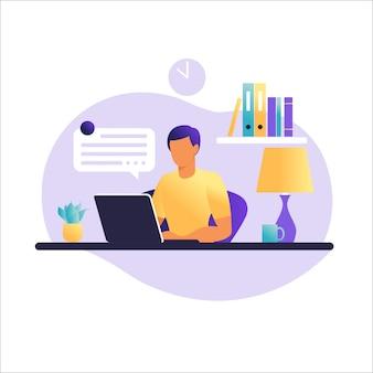 Hombre sentado mesa con ordenador portátil. trabajando en una computadora. freelance, educación en línea o concepto de redes sociales. concepto independiente o de estudio. estilo plano ilustración aislada en blanco.