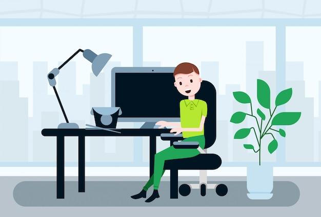 Hombre sentado oficina escritorio de trabajo almuerzo almuerzo plantilla de concepto de comida asiática para trabajo de diseño y animación plana