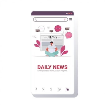 Hombre sentado pose de loto leyendo el periódico en línea noticias diarias en la computadora portátil, prensa, medios de comunicación, concepto, pantalla del teléfono inteligente, aplicación móvil, espacio de copia, ilustración vectorial