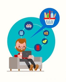 Hombre sentado en el sofá ordenando comestibles en línea con la computadora portátil. estilo de vida moderno con la ilustración del concepto de entrega de comida en línea. dibujos animados en estilo de diseño plano.
