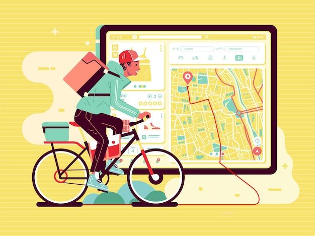 Hombre del servicio de entrega, entrega el paquete en bicicleta, con guía de mapa en la aplicación
