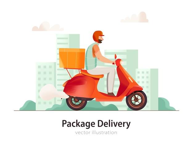 Hombre de servicio de entrega montando moto con ilustración plana de caja
