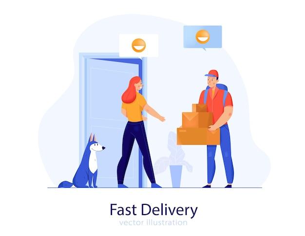 Hombre de servicio de entrega rápida dando cajas al piso del cliente