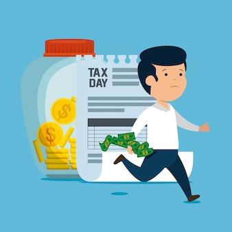 Hombre con servicio de finanzas fiscales y monedas