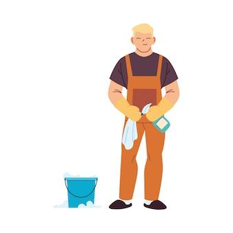 Hombre de servicio de limpieza con guantes y utensilios de limpieza