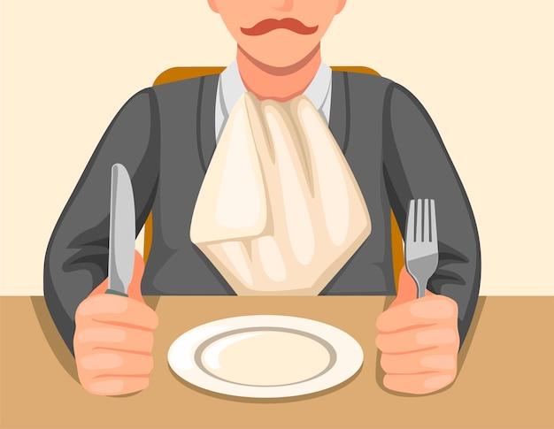 Hombre con servilleta metida en el cuello sentado en la mesa sosteniendo cuchillo y tenedor listo para comer en la ilustración de dibujos animados
