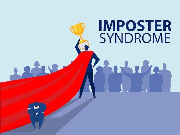 Hombre del síndrome del impostor que representa su perfil actual con una sombra de miedo detrás de la ansiedad y la falta de confianza en sí mismo en el trabajo, la persona finge es otro concepto
