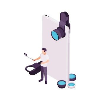 Hombre con smartphone haciendo video vlogging concepto isométrico ilustración 3d