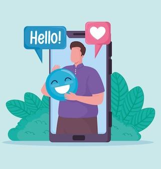 Hombre en smartphone con ilustración de iconos de redes sociales