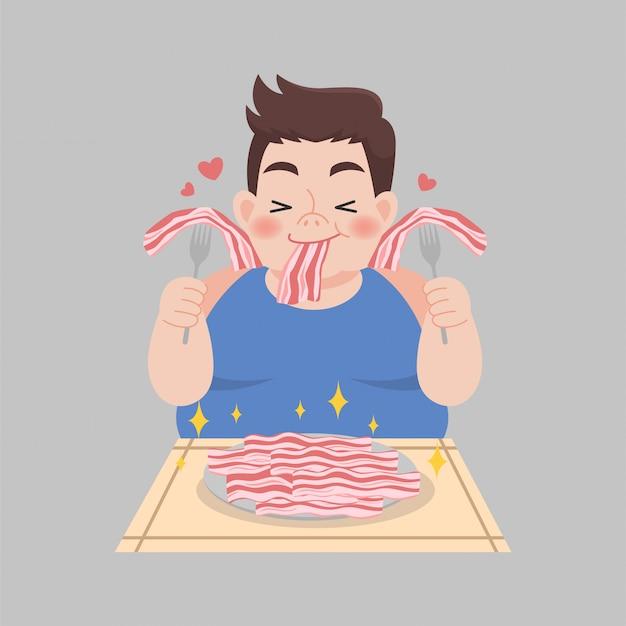 Hombre con sobrepeso disfruta comiendo alimentos de dieta cetogénica ilustración de pérdida de peso