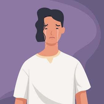 Hombre solitario y triste llorando.