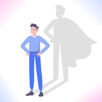 Hombre con sombra de superhéroe, confianza en sí mismo y ambición