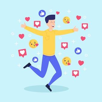 Hombre sonriente adicto a las redes sociales