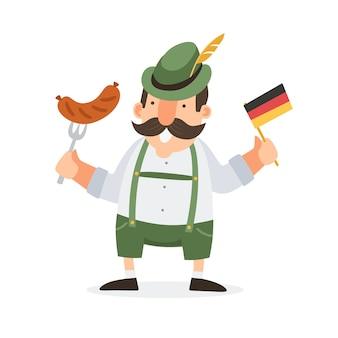 Hombre sonriente bávaro feliz en traje típico con salchicha y bandera alemana. ilustración.