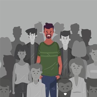 Hombre sonriente en ilustración de multitud