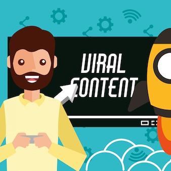 Hombre sonriente smartphone en manos contenido viral cohete
