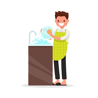 Hombre sonriente vestido con un delantal está lavando ilustración plato